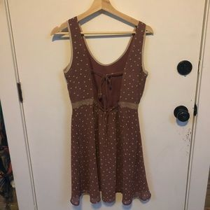 ModCloth Esley Brown Polka dot open back dress S